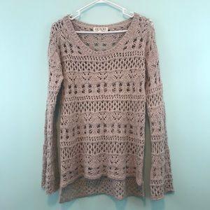 Pink Rose Open Knit Tan Sweater